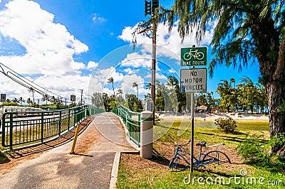 Bridge and bike lane in tropical Kailua Beach in Oahu Editorial Image