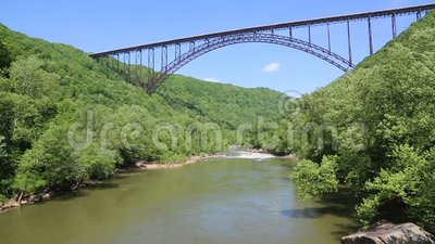 The bridge and the bird. Famous New River Gorge Bridge in West Virginia stock video footage