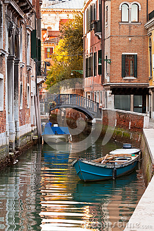 Bridge and boats in Venice
