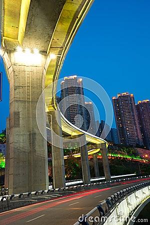 Bridge with city night scape,chongqing,china