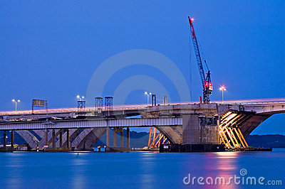 Bridge Construction at Night
