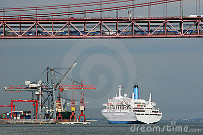 Bridge, Dock and Cruise Ship