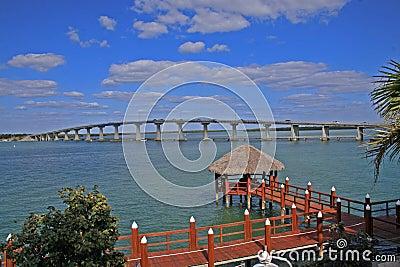 Bridge and dock over water