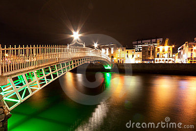 Bridge in Dublin at night, Ireland