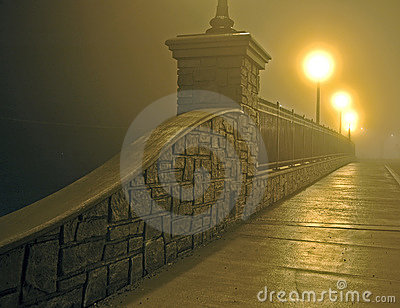 Bridge in Fog at Night