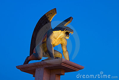 Bridge of the gargoyle with blue sky