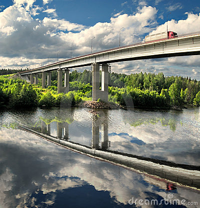 Bridge, highway and truck, landscape reflection