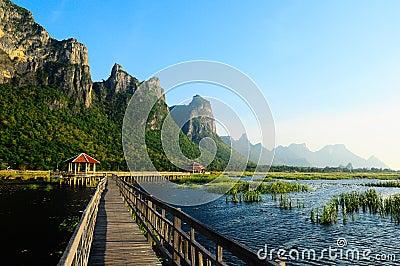 Bridge on the lake at Sam Roi Yod National Park