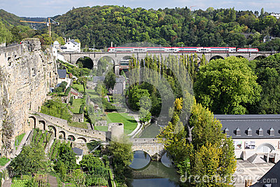 Bridge and medieval wall in Luxembourg