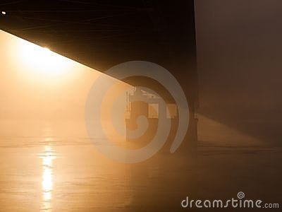 Bridge in the misty morning