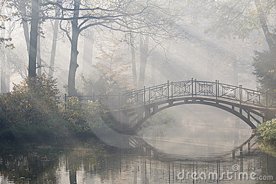 Bridge in misty morning