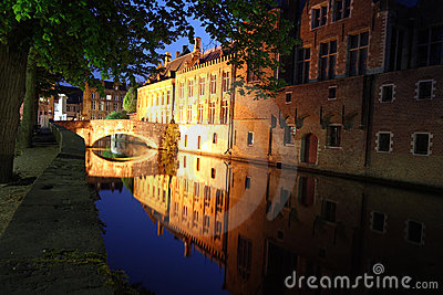 Bridge at night Bruges