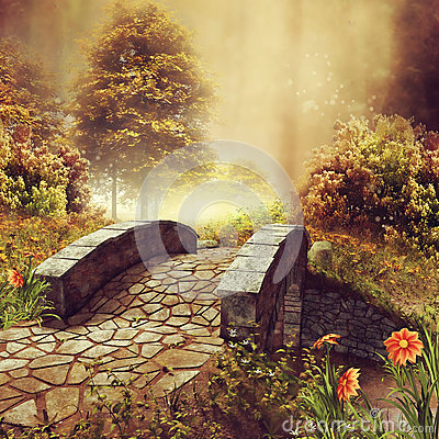 Free Bridge On A Colorful Autumn Meadow Royalty Free Stock Images - 78301029