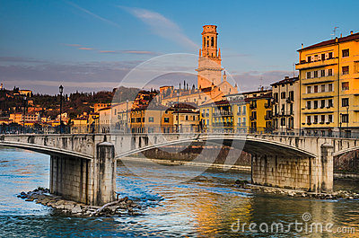 Bridge over Adige river in Verona, Duomo tower