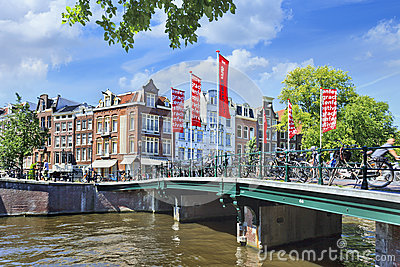 Bridge over a canal in Amsterdam Old Town Editorial Image