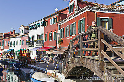 Bridge over canal in Burano, Venezia Italy Editorial Image