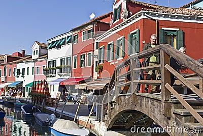 Bridge over canal in Burano, Venezia Italy Editorial Image