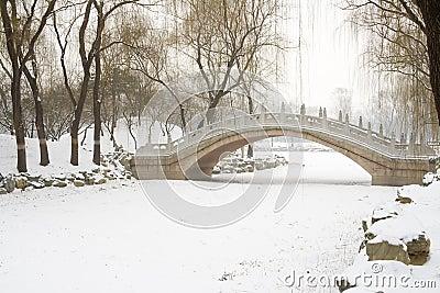 Bridge over frozen river