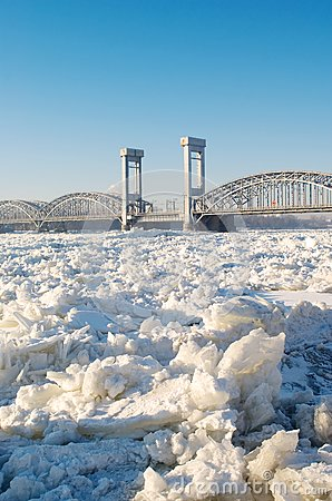 Bridge over frozen river