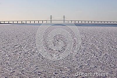 Bridge over icy water