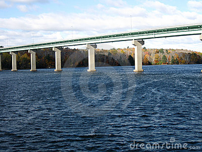 Bridge over large body of water
