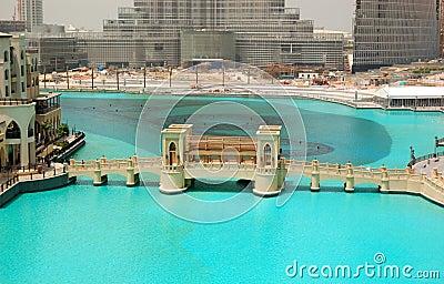 The bridge over man-made lake in Dubai downton Editorial Stock Photo
