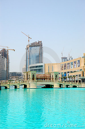 Bridge over man-made lake in Dubai downtown Editorial Stock Photo
