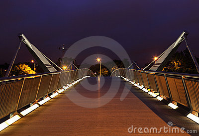 Bridge over River Liffey at night.