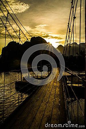 Bridge over river song at sunset , Vang vieng, Laos