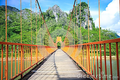 Bridge over song river in Laos