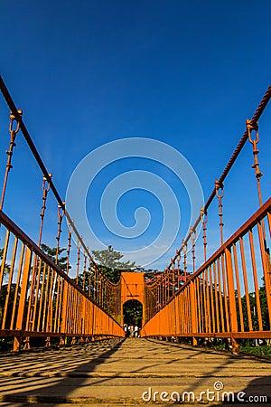 Bridge over song river, vang vieng, laos