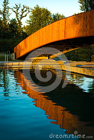 Free Bridge Over Swimming Pool Stock Images - 9981194