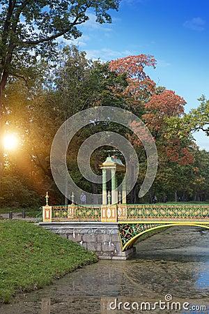 Free Bridge Over The Channel Overgrown With A Duckweed. Catherine Park. Pushkin Tsarskoye Selo. Petersburg Royalty Free Stock Photos - 93537658