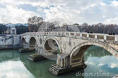 Bridge over the Tiber River in Rome, Italy Editorial Stock Image