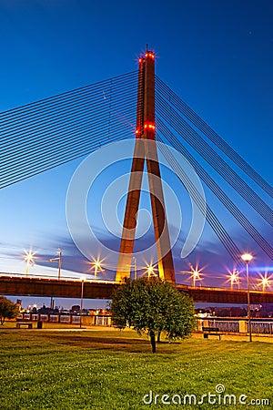Bridge in Riga at night