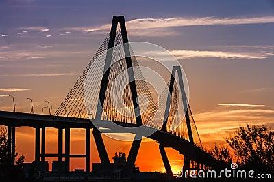 Ravenel Bridge Silhouette at Sunset