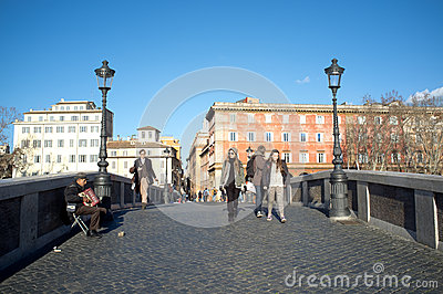The bridge Sisto in Rome Editorial Photography