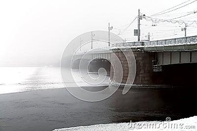 Bridge and snowfall