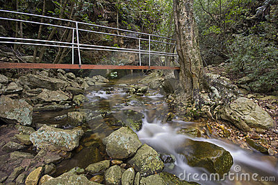 Mountain stream and bridge