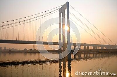 The bridge in the sunset