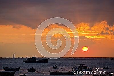 Bridge sunset and silhouette