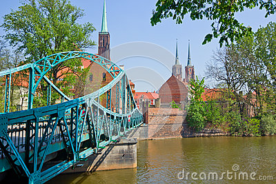 bridge to island Tumski, Wroclaw, Poland