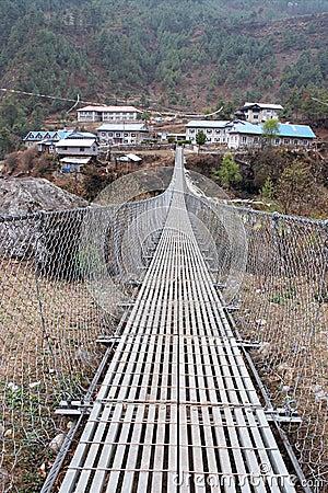 Bridge to nepalese village, Everest trail, Nepal