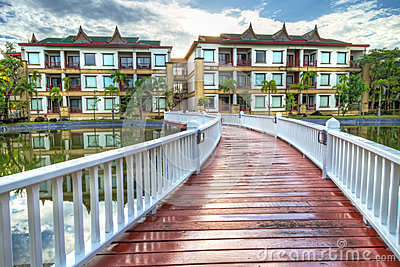 Bridge to the oriental style resort in Thailand