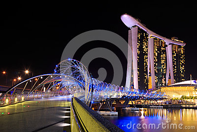 Bridge to singapore city at night