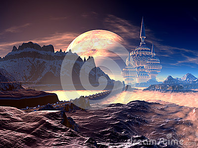Bridge to Towered Alien City on Distant Planet