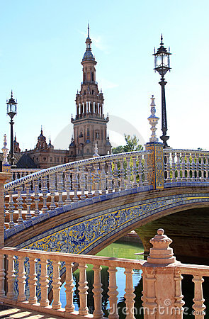 Bridge and tower at Plaza de Espana, Seville Spain
