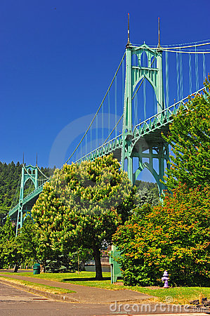 Free Bridge Towering Above A Purpule Hydrant Royalty Free Stock Images - 20186599