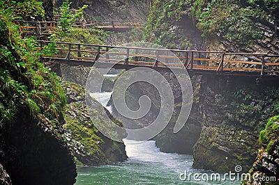 Bridge in Vintgar canyon