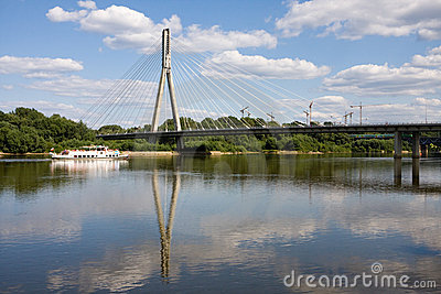 Bridge on vistula river in warsaw